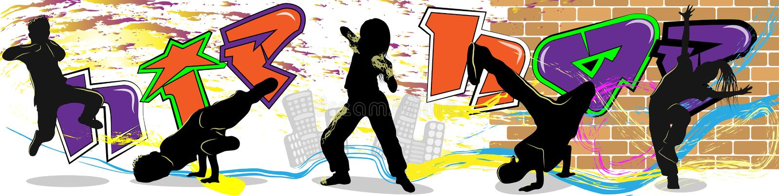 Hip hop dancer on wall and city background stock illustration