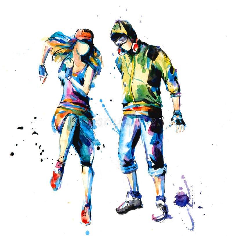 Hip hop dancers. Art illustration of a hip hop dancers royalty free illustration
