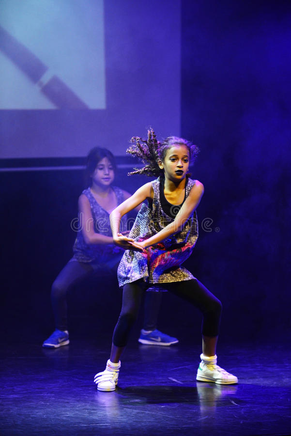 Hip hop dancers. End of the year classes show of child and youth that combine ballet , hip hop and break-dance dancers in Israel karmiel 7/7/2016 stock photos