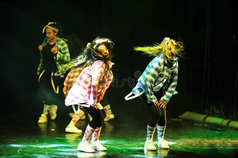 Hip hop dancers. End of the year classes show of child and youth that combine ballet , hip hop and break-dance dancers in Israel karmiel 7/7/2016 royalty free stock image