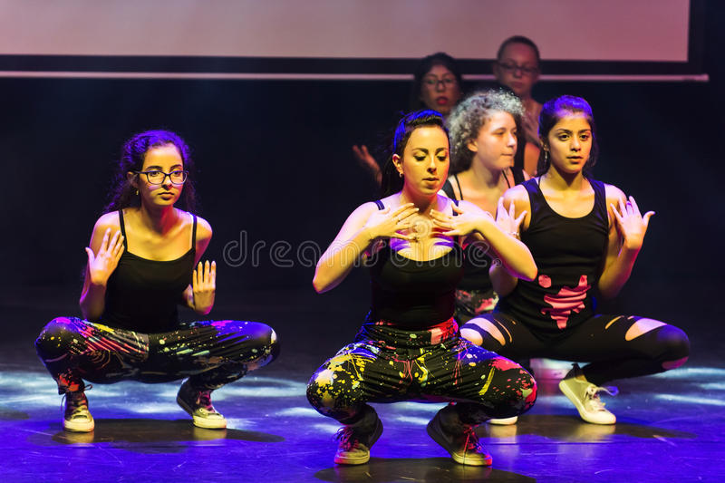Hip hop dancers. End of the year classes show of child and youth that combine ballet , hip hop and break-dance dancers in Israel karmiel 7/7/2016 stock photography