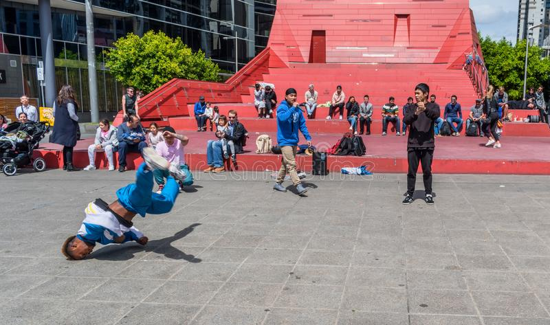 Hip hop dancers at Southbank in Melbourne. Hip hop dancers are entertaining audience at Southbank in Melbourne, Australia royalty free stock photo