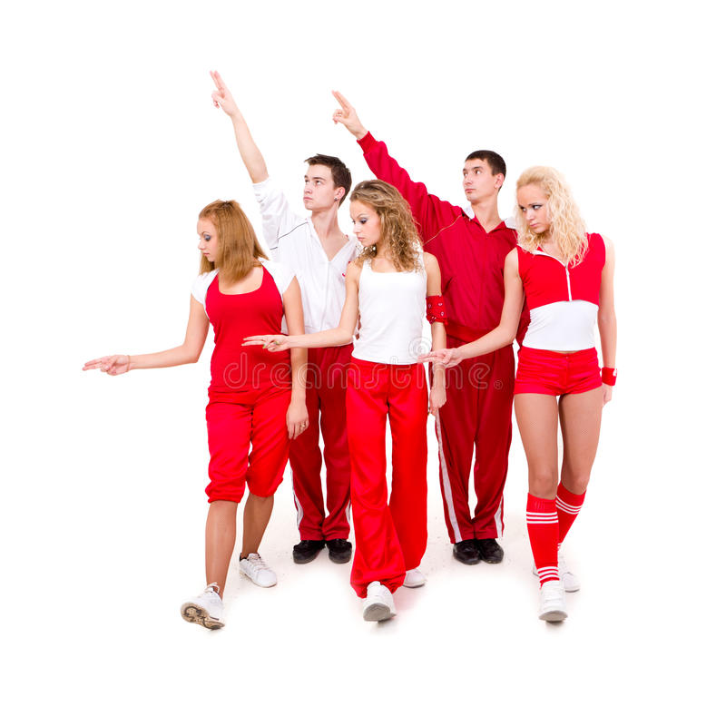 Hip hop dancers showing different dancing poses. Portrait of a young hip hop dancers showing different dancing poses royalty free stock photos