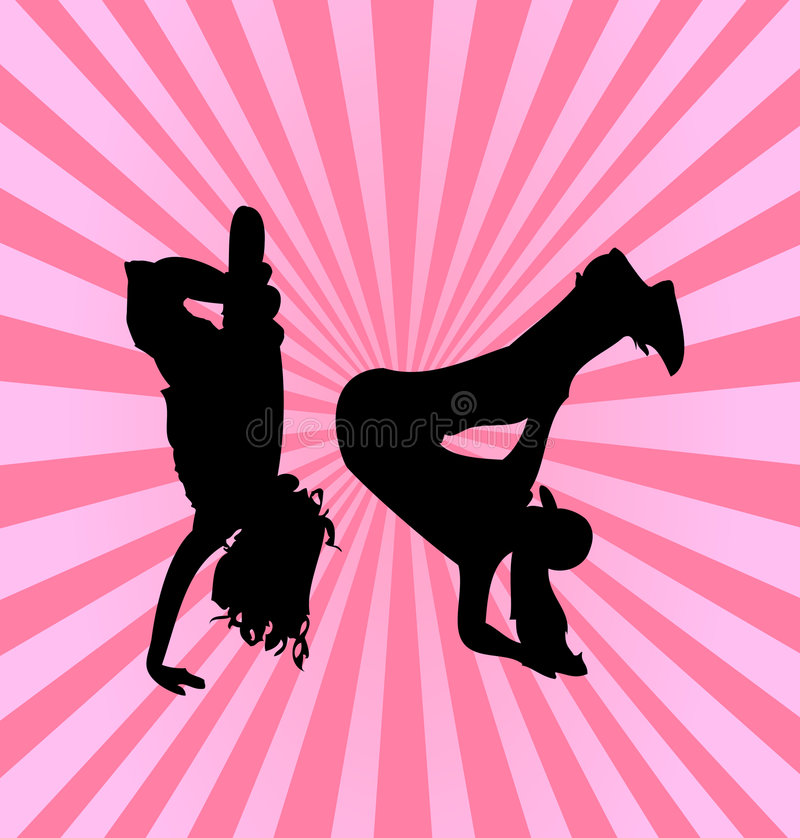 Hip Hop Dancing Girls Silhouette Royalty Free Stock Images