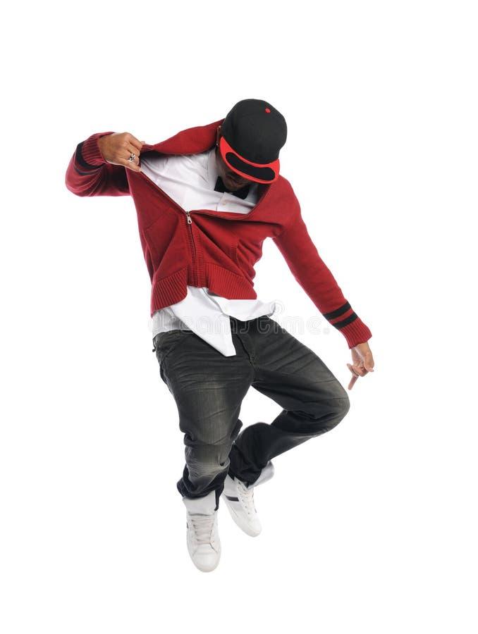 Hip Hop dansare som bär flåsanden för en röd överkant och baksida arkivfoton