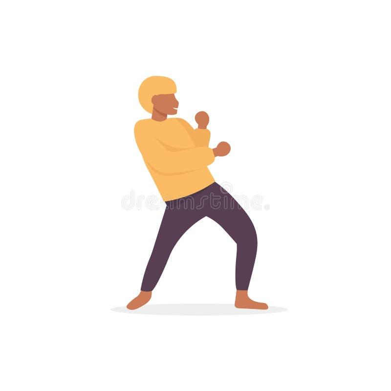 Hip-hop di afro del ballerino dell'uomo illustrazione vettoriale