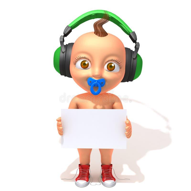 Hip-hop di Jake del bambino con il pannello bianco illustrazione vettoriale