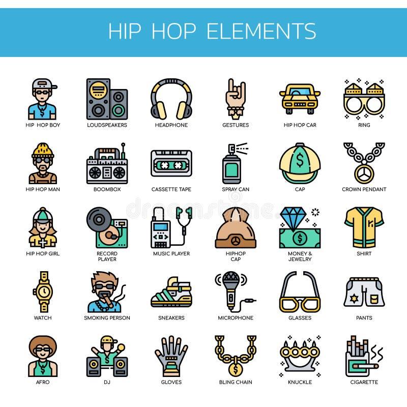 Hip Hop-Elemente, Pixel-perfekte Ikonen lizenzfreie stockfotos