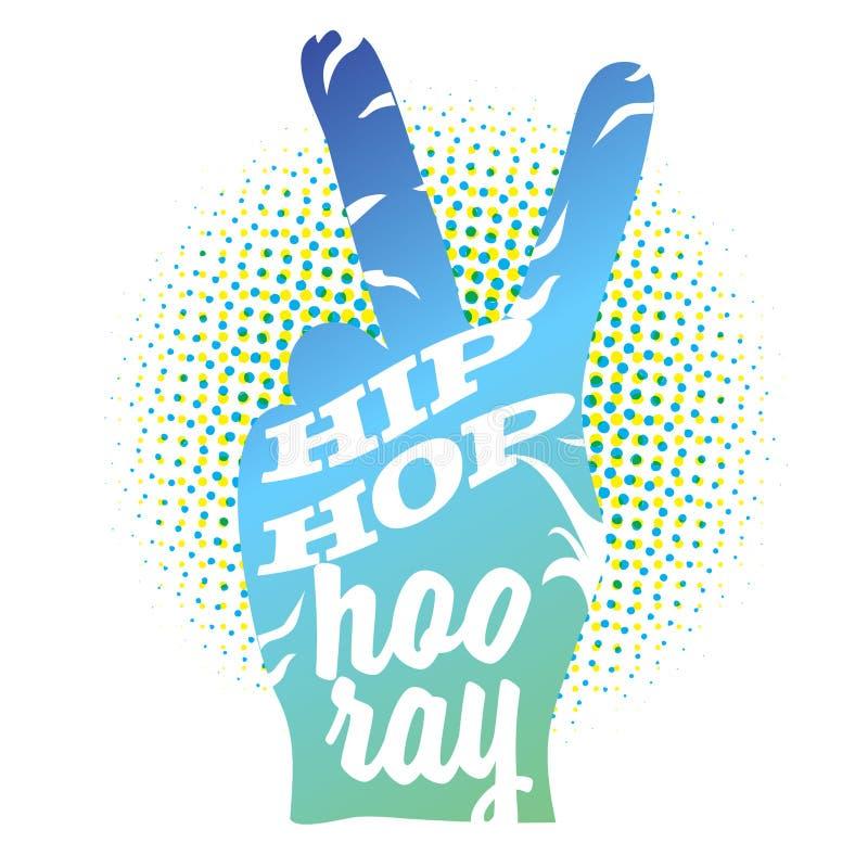 Hip Hop evviva sul segno della mano di pace illustrazione vettoriale