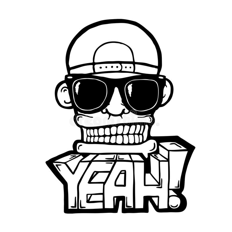 Hip hop face. With sunglasses and cap. Cool man. With YEAH! text stock illustration
