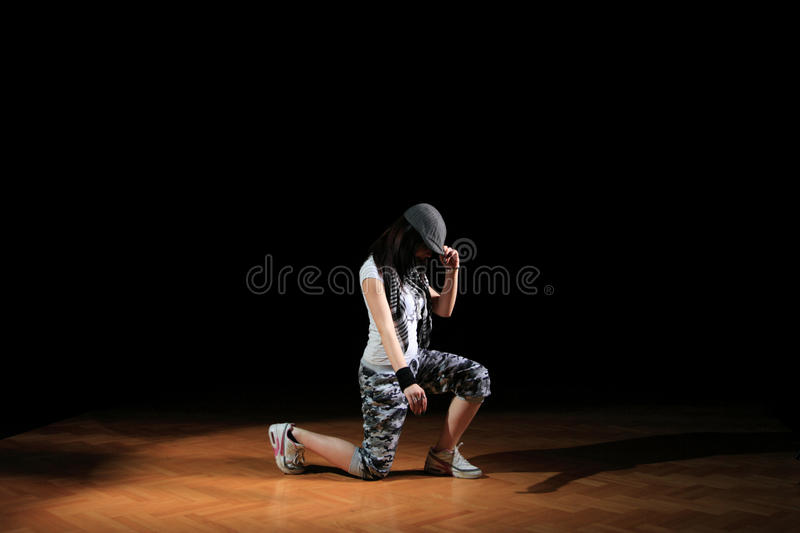 Hip hop girl in dance stock photos