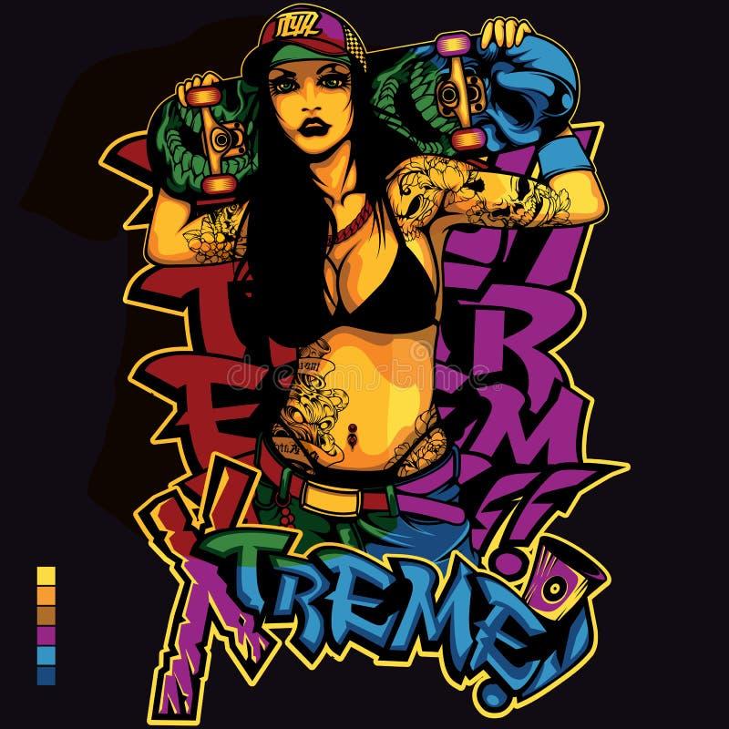 Hip Hop Girl Shirt Design. Hip Hop music girl t-shirt or poster print design vector illustration
