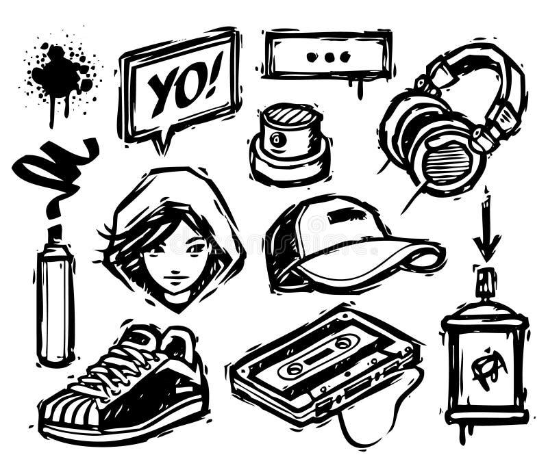 Hip-hop graphics. Set of hip-hop elements stock illustration