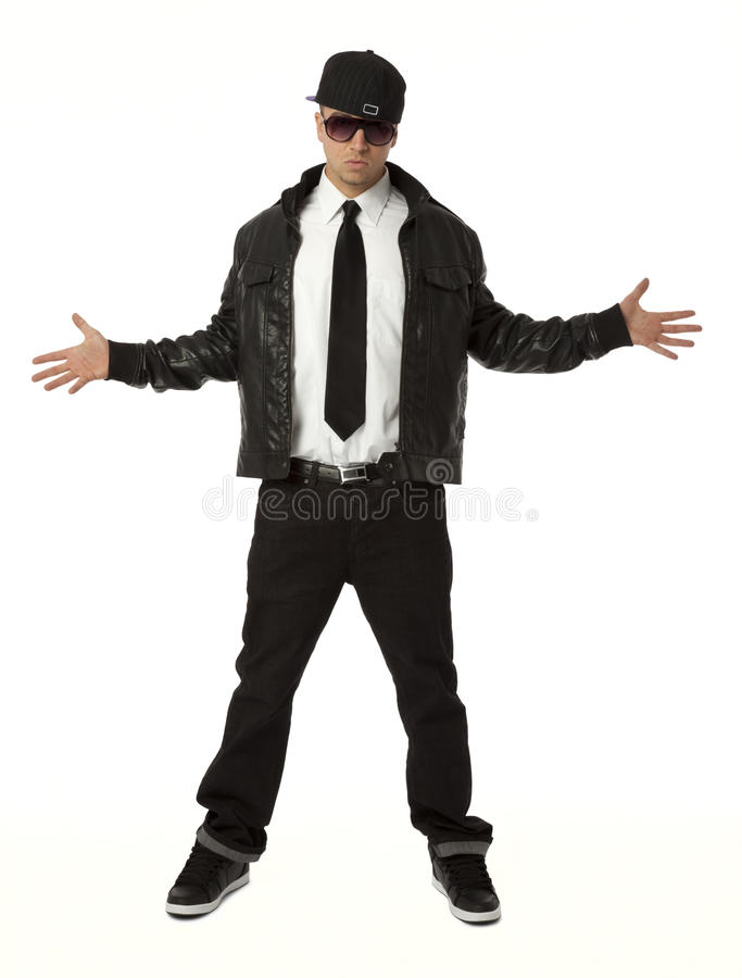 Hip Hop Guy on White. Full length front view of young adult hip hop male on white background stock photos