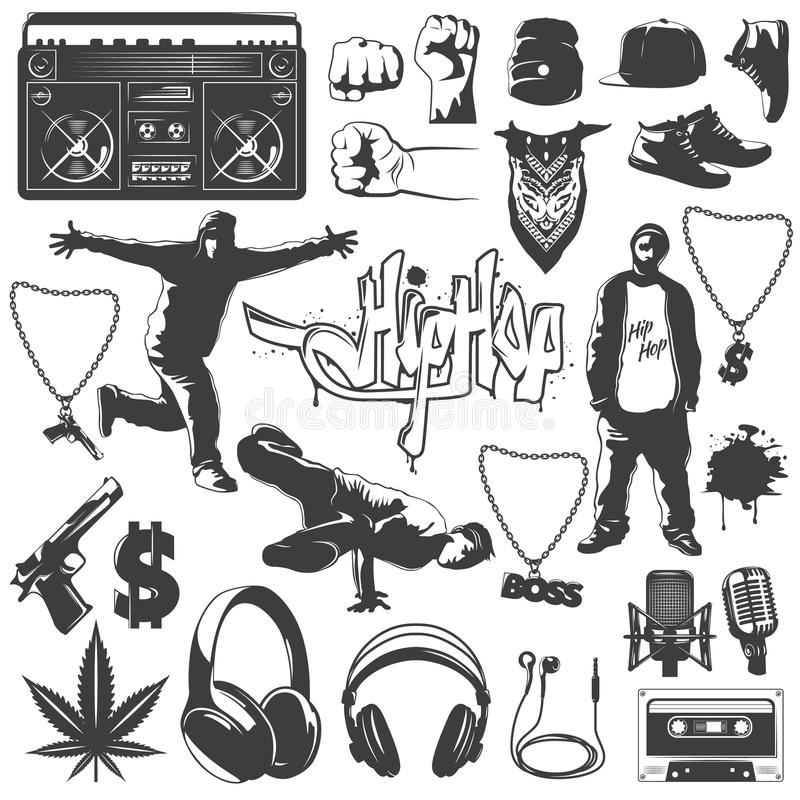 Hip Hop Icon Set. Black isolated hip hop icon set attributes and accessories to create a hip hop style vector illustration royalty free illustration