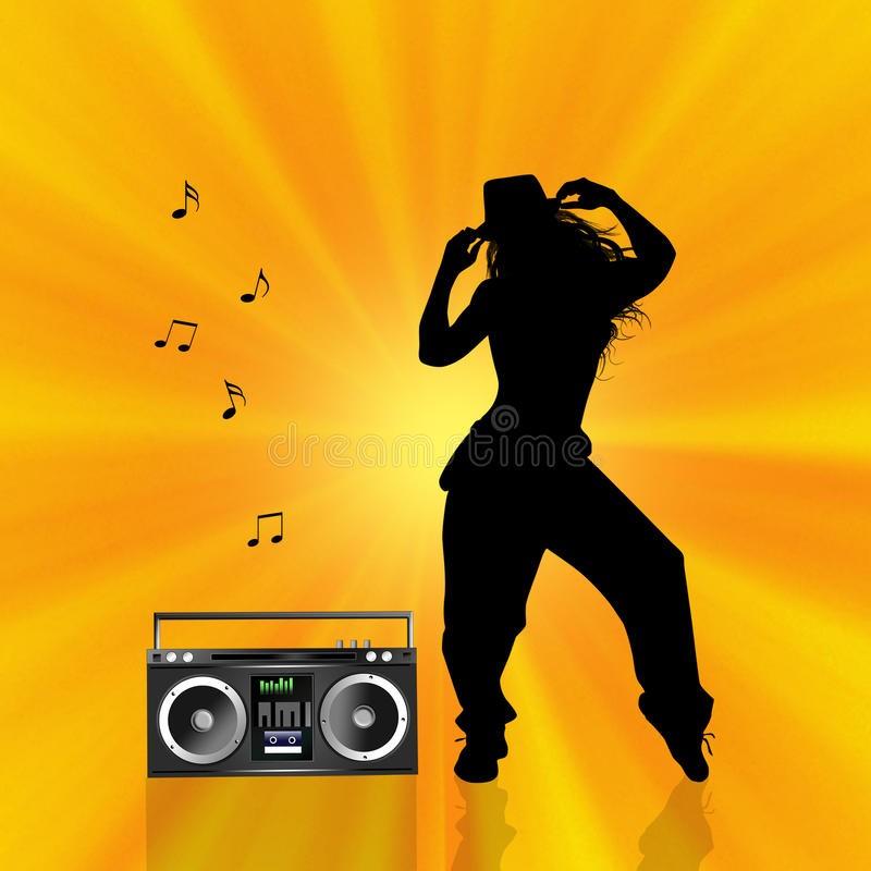 Hip hop. Illustration of woman dancing hip hop with stereo stock illustration