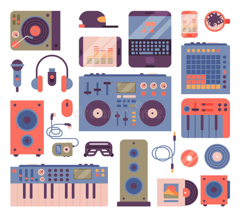 Hip hop lub DJ muzyka instrumentów akcesoryjnego breakdance rap dyskdżokeja wektoru ekspresyjne ikony royalty ilustracja