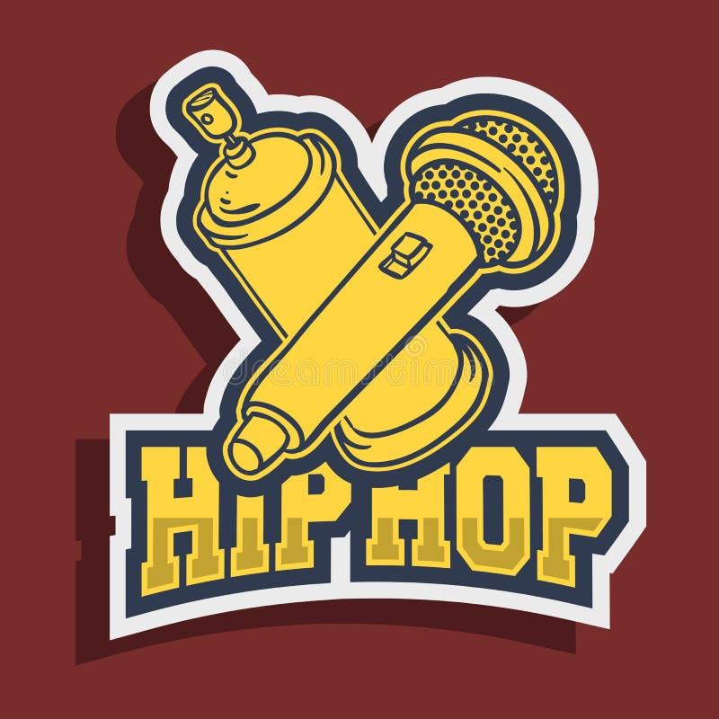 Hip Hop majcheru projekt Z graffiti farbą Może Szybko się zwiększać kiść I Mic mikrofon ilustracja wektor
