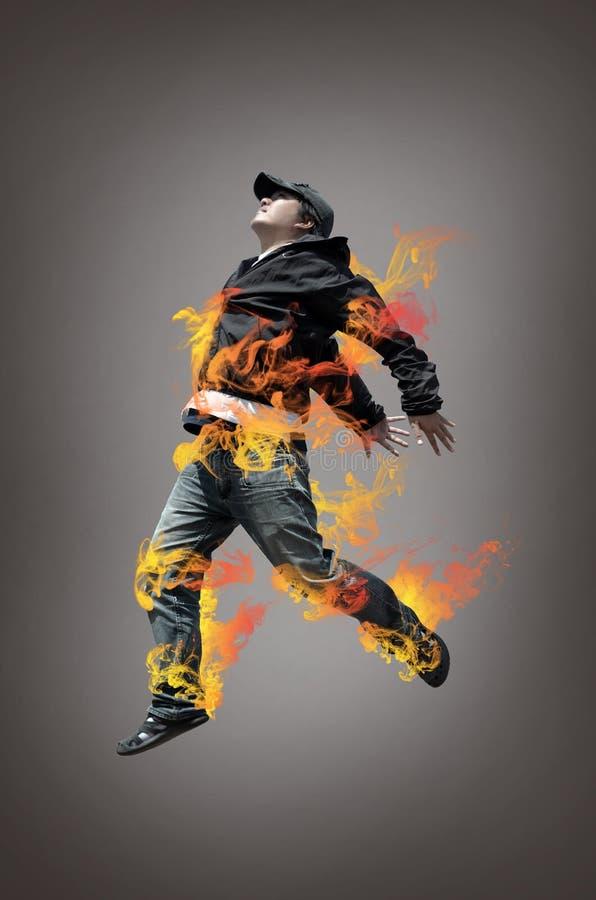 Hip hop man jumping stock image