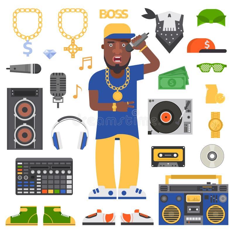 Hip hop man vector. Hip hop man musician with microphone breakdance expressive rap portrait. Modern young hip hop man fashion person adult people. Hip hop man vector illustration