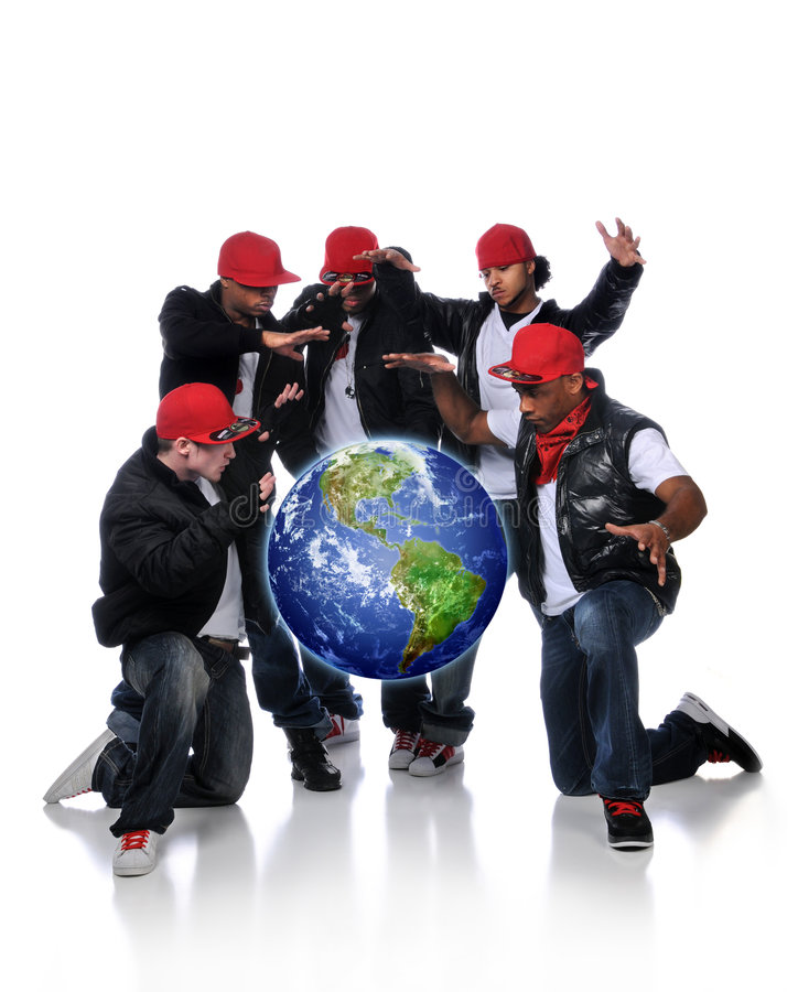 Free Hip Hop Men With Earth Suspended Royalty Free Stock Image - 8063966