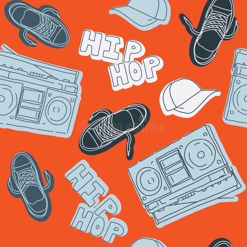 Hip hop music seamless pattern royalty free illustration