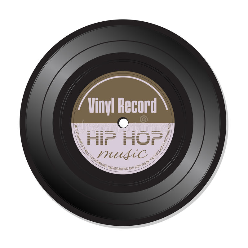 Hip hop music vinyl record. Isolated vinyl record with the text hip hop written on the record stock illustration