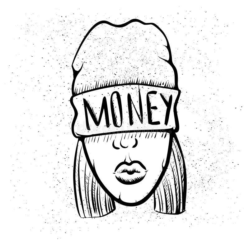 Hip Hop musikflicka Nätt ung stads- rapflicka Konstverk för dam Vector Klotterkonst som isoleras på vit bakgrund Vända mot stock illustrationer