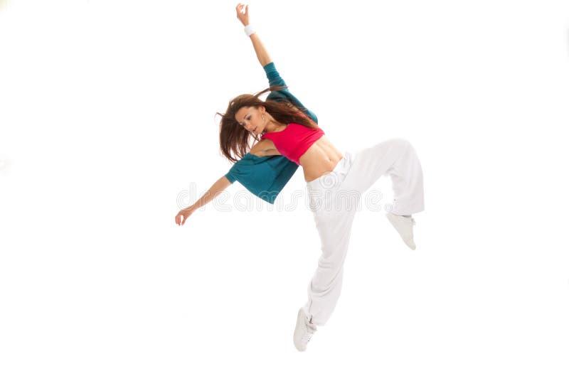 Hip-hop new style woman dancer break dancing stock images