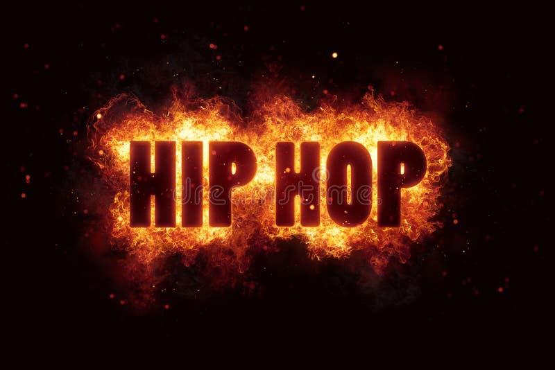 Hip hop ogienia płomieni oparzenie teksta płonący wybuch wybucha obraz stock