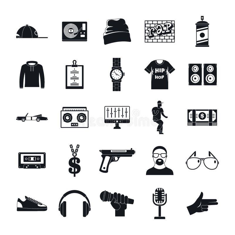 Hip-Hop-Pochen Swagmusik-Tanzikonen stellten, einfache Art ein lizenzfreie abbildung
