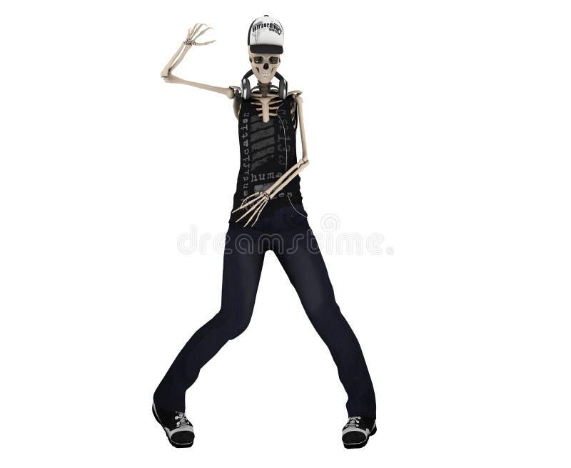 Hip Hop poserar den skelett- dansen med headphonen med den snabba banan vektor illustrationer