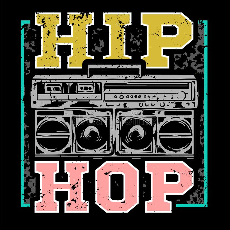 Hip hop print. Street style colorful print with big boombox for hip hop or rap music type. For fashion design print on clothes t shirt bomber cover single stock illustration