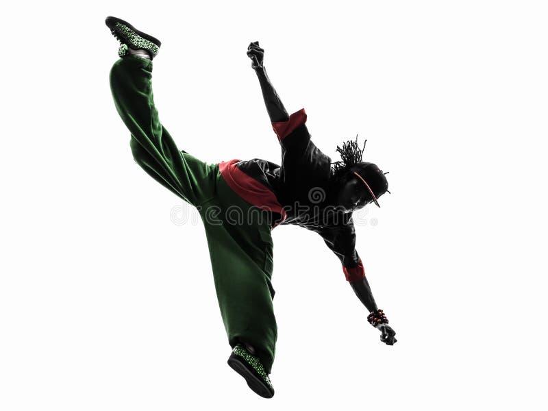 Hip hop przerwy akrobatycznego tancerza breakdancing młody człowiek skacze si zdjęcia royalty free