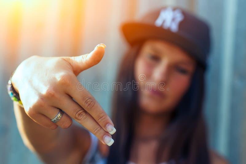 Hip hop rap girl royalty free stock photography