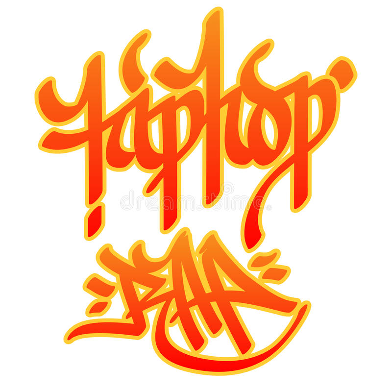 Hip-hop Rap. Hip-hop and Rap words written with graffiti style on white background royalty free illustration