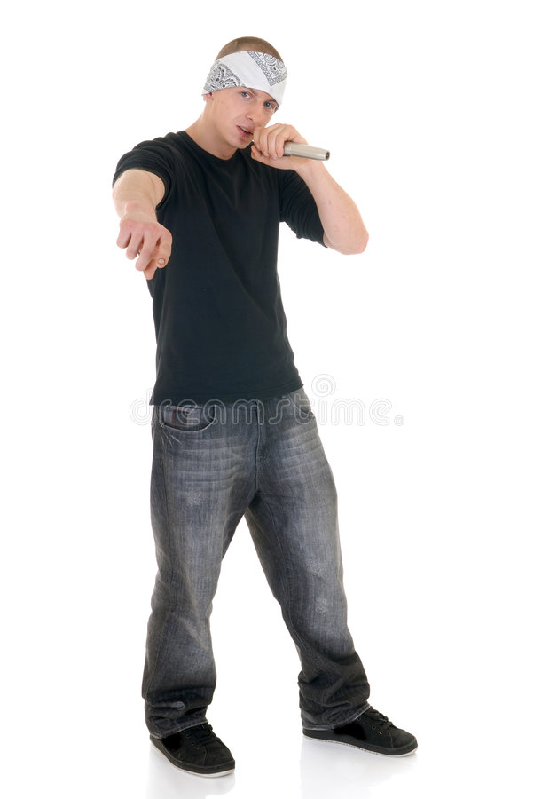 Hip hop rapper, singer. Handsome youngster, teenager hip hop, rapper singer with microphone, white background royalty free stock photos
