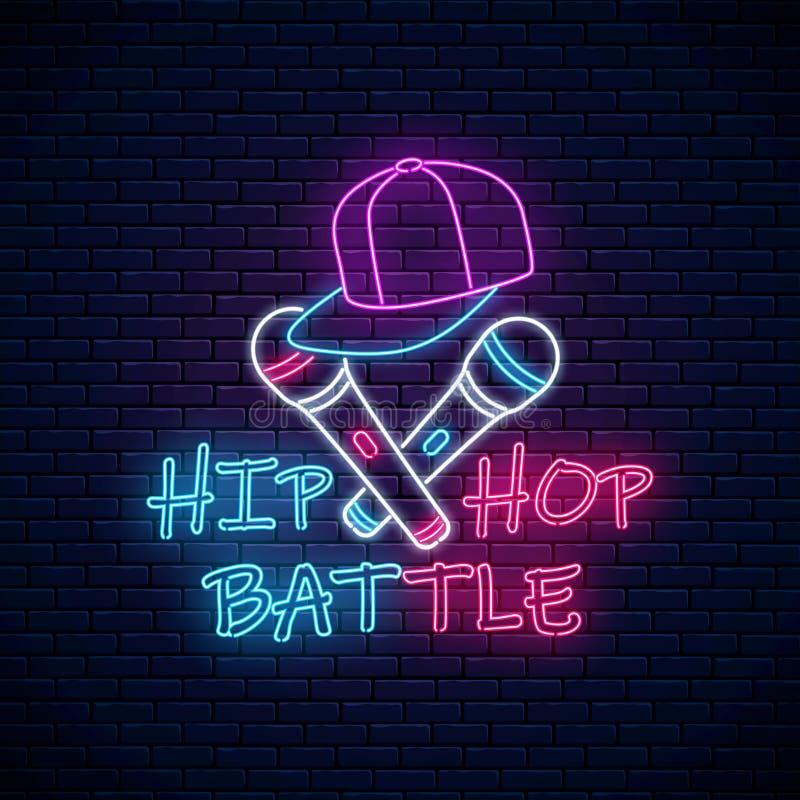 Hip Hop Schlacht Neon Schild mit zwei Mikrofonen und Baseballkappe Emblem der Rap-Musik Tanzwettbewerb Werbegestaltung stock abbildung