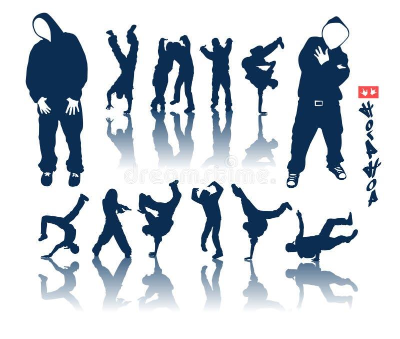 Hip-hop set. Hip-hop silhouette collection. Urban style bigpack vector illustration