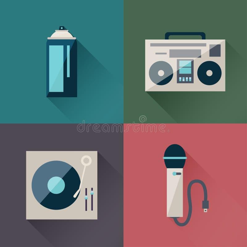 Hip Hop set. In a flat design stock illustration