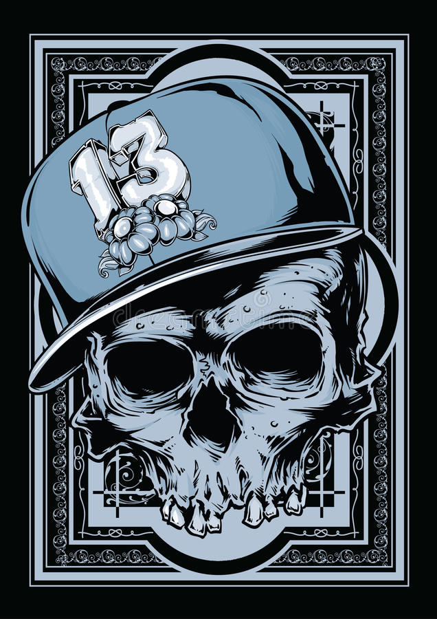 Hip hop skull. Portrait of a hip hop skull stock illustration