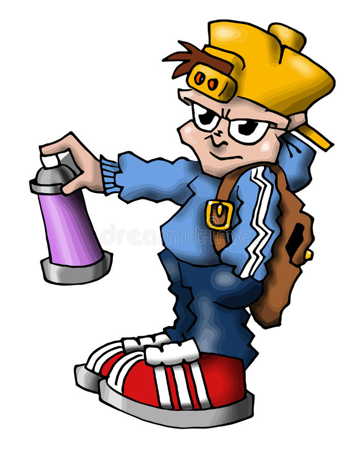 Hip hop soundsystem 03. Hip hop party character with spray royalty free illustration