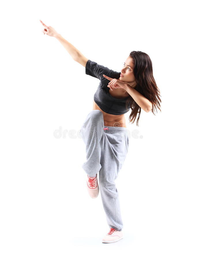 Hip-hop stylu nastoletniej dziewczyny skokowy taniec obraz royalty free