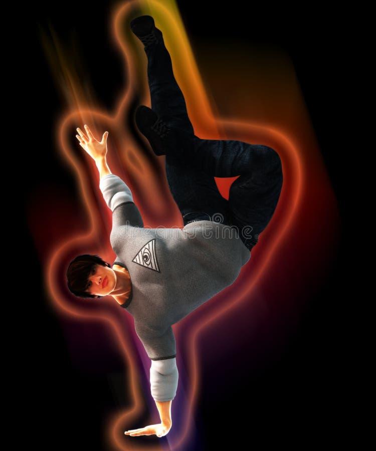 Hip Hop-Tänzer auf einer Bewegung stock abbildung