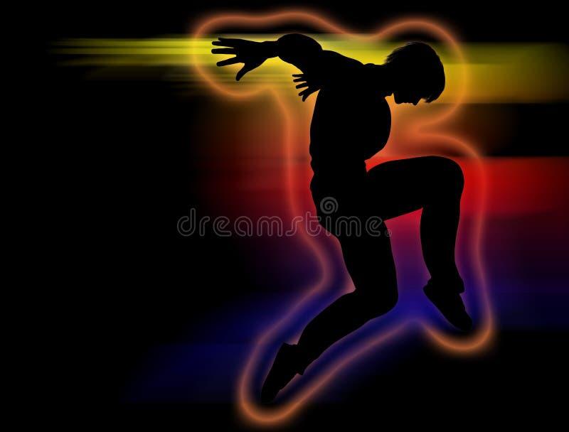 Hip Hop-Tänzerschattenbild auf einer Tanzbewegung stock abbildung