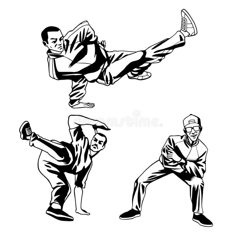 Hip hop tancerza chłopiec ilustracyjne w dynamicznych pozach ilustracji