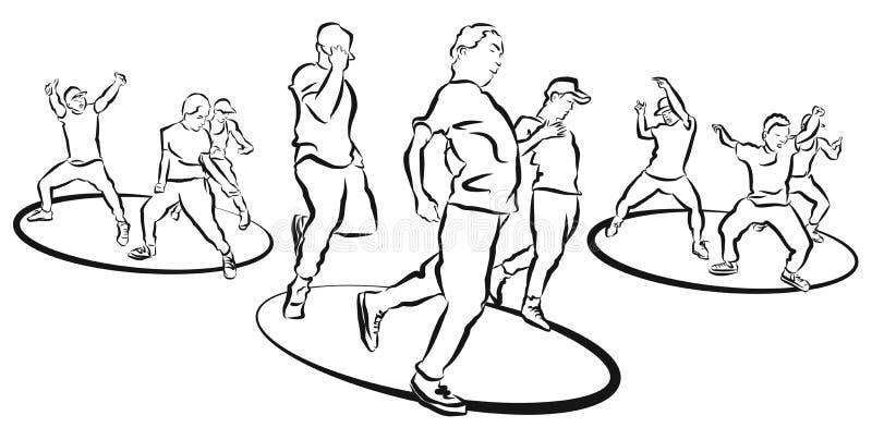 Hip Hop-Triodanser Choreography, Kleurende Pagina vector illustratie