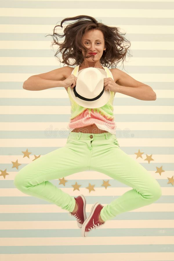 Hip hop woman dancer. Crazy girl in colorful sporty clothes. Glamour fashion model. Happy and stylish sexy woman royalty free stock images