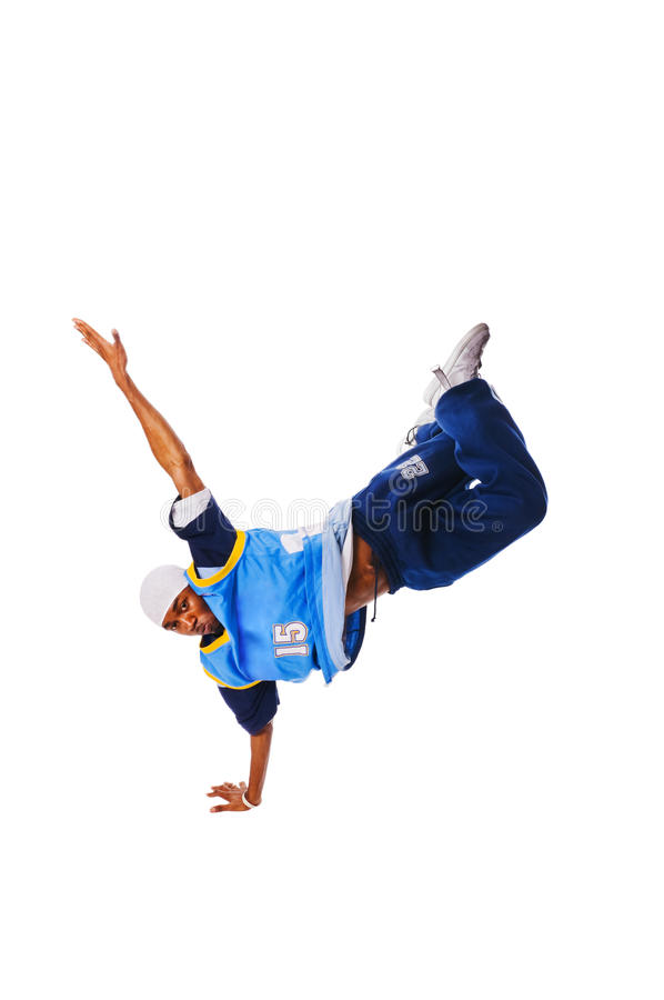 Hip-hopjunger Mann, der kühle Maßnahme trifft stockfoto