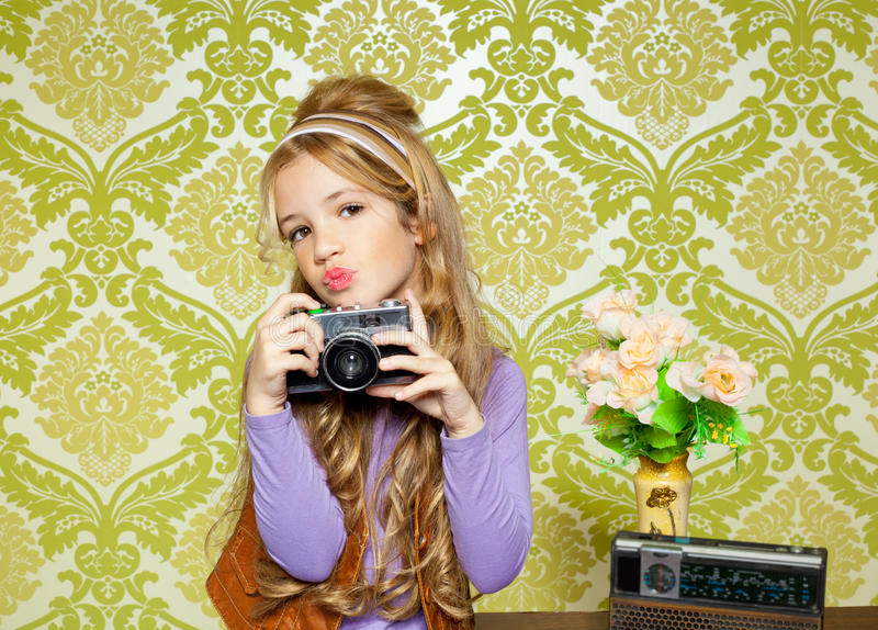 Hip Retro Little Girl Shooting Photo Royalty Free Stock Photography